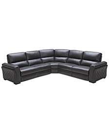 CLOSEOUT! Jessi 5-pc Leather Sectional Sofa with 3 Power Recliners, Created for Macy's