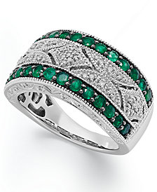 Emerald (1/2 ct. t.w.) and Diamond (1/10 c.t. t.w.) Antique Band in Sterling Silver