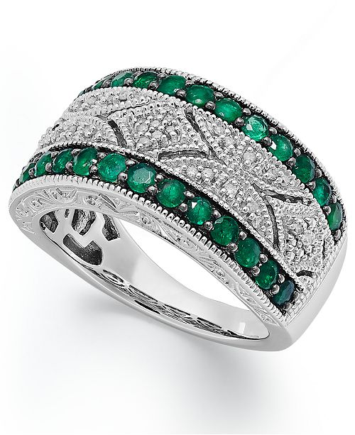 Macy's Emerald (1/2 ct. t.w.) and Diamond (1/10 c.t. t.w.) Antique Band in Sterling Silver
