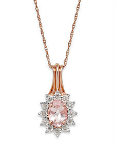 Morganite (5/8 ct. t.w.) and Diamond Accent Pendant Necklace in 10k Rose Gold