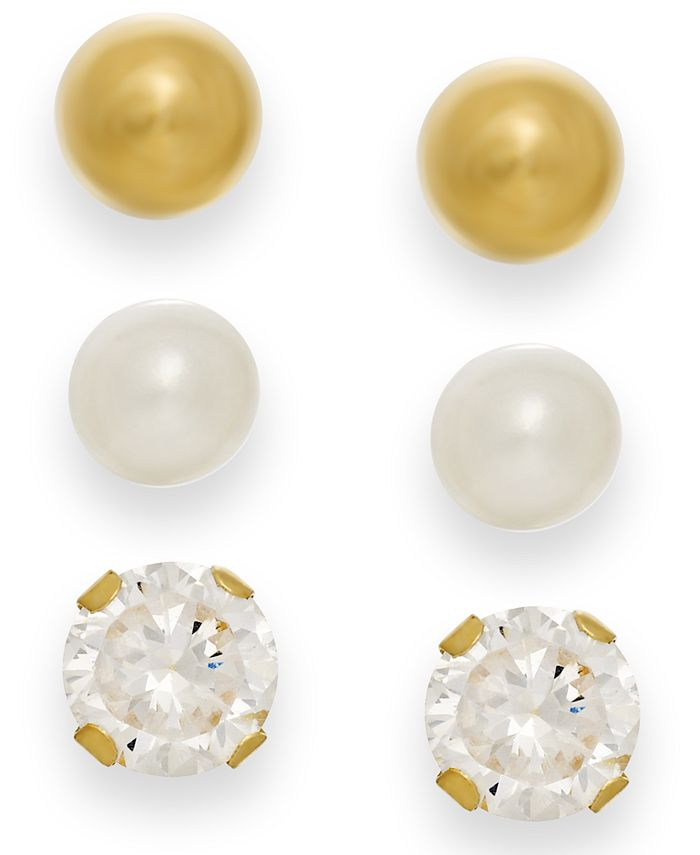 Macy's - Cultured Freshwater Pearl, Cubic Zirconia and Ball Stud Set in 10k Gold