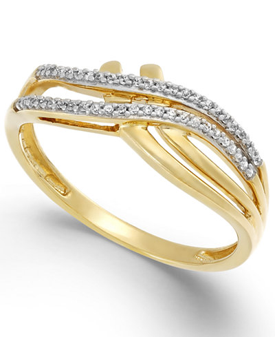 Diamond (1/10 ct. t.w.) Double Bypass Ring in 10k Gold