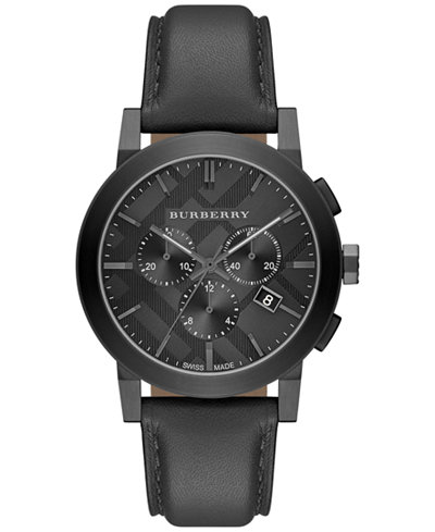 Burberry Men S Swiss Chronograph Dark Gray Leather Strap