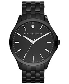 A|X Armani Exchange Men's Genuine Diamond Accent Black Ion-Plated Stainless Steel Bracelet Watch 46mm AX2159