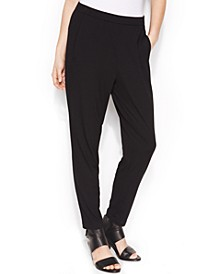 Stretch Jersey Pull-On Slouchy Ankle Pants,Regular & Petite Sizes