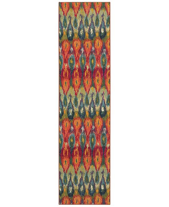 "Oriental Weavers Kaleidoscope 2061Z Vibrant Flame 2'7"" x 10' Runner Rug"