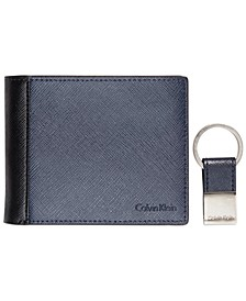 Saffiano Leather Two-Tone Bifold Wallet & Key Fob
