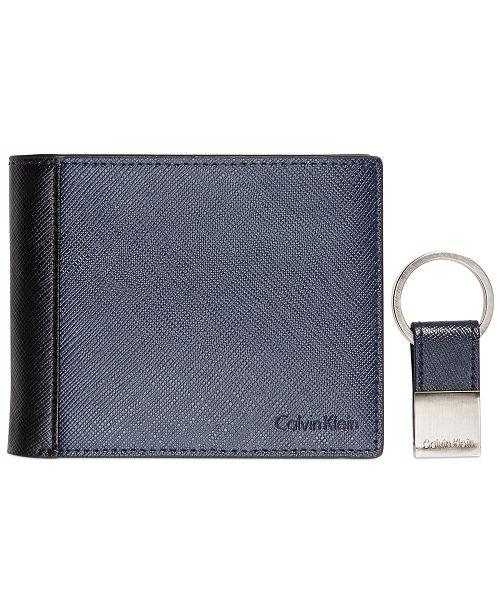 Calvin Klein Saffiano Leather Two-Tone Bifold Wallet & Key Fob