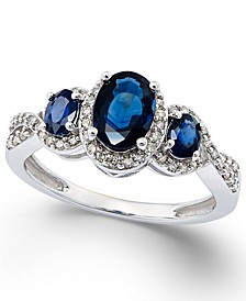 Sapphire (1-1/3 ct. t.w.) & Diamond (1/4 ct. t.w.) 3-Stone Ring in 14k White Gold (Also in Certified Ruby, Emerald & Tanzanite)