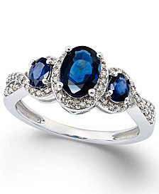 Sapphire (1-1/3 ct. t.w.) and Diamond (1/4 ct. t.w.) Three-Stone Ring in 14k White Gold