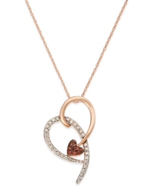 Diamond (1/4 ct. t.w.) and Red Diamond Accent Heart Pendant in 10k Pink Gold