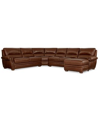 Royce leather 4 piece chaise sectional sofa furniture for 4 piece sectional sofa with chaise