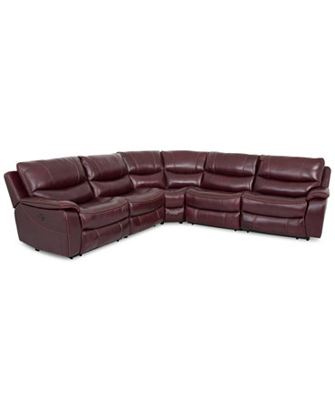 Daren Leather 5 Piece Power Reclining Sectional Sofa With