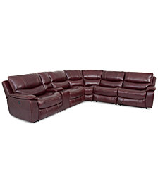 CLOSEOUT! Daren Leather 6-pc Sectional Sofa with 2 Power Recliners and USB Power Outlet, Created for Macy's