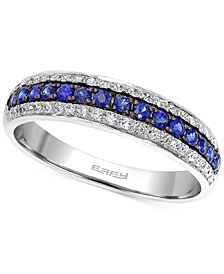 EFFY Sapphire (1/5 ct. t.w.) and Diamond (3/8 ct. t.w.) Band in 14k White Gold