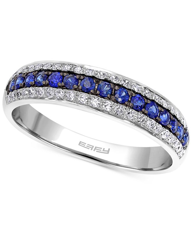 EFFY Collection EFFY® Sapphire (1/5 ct. t.w.) and Diamond (3/8 ct. t.w.) Band in 14k White Gold