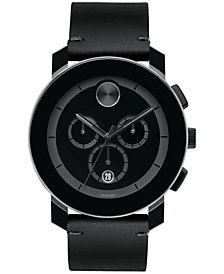 Movado Men's Swiss Chronograph Bold Black Leather Strap Watch 44mm 3600337