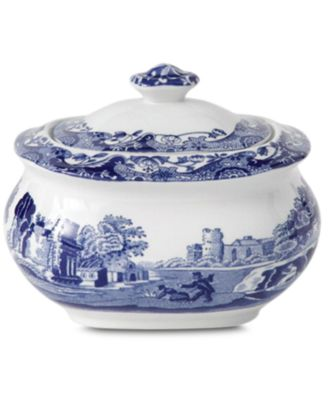 """Blue Italian"" Covered Sugar Bowl"