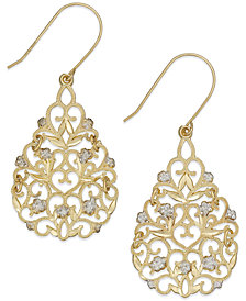 Filigree Flower Drop Earrings in 10k Gold and Sterling Silver
