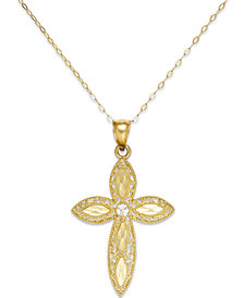 Filigree Cross Pendant Necklace in 14k Gold