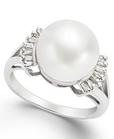 Cultured Freshwater Pearl (11mm) and Diamond (1/5 ct. t.w.) Ring in 14k White Gold