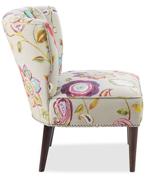 Blush Amp Brass Kenzie Floral Fabric Accent Chair Quick