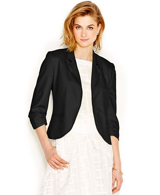 Bar III Rouched Sleeve Cropped Blazer - Jackets - Women - Macy's
