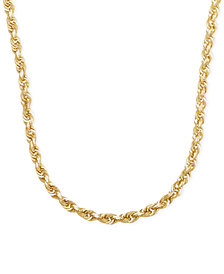 "3mm Rope Chain 22"" Necklace (4mm) in Solid 14k Gold"