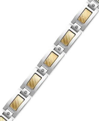 Men's Inlay Diamond Bracelet (1/5 ct. t.w.) in Stainless Steel and 18k Gold