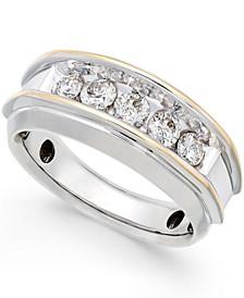 Men's Five-Stone Two-Tone Diamond Ring in 10k Gold (1 ct. t.w.)
