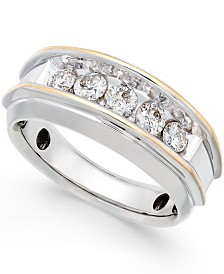 Men's Five-Stone Two-Tone Diamond Ring in 10k Gold (1 ct. t.w.)
