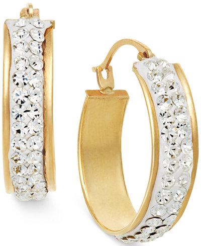 Crystal Hoop Earrings in 10k Gold, 15mm