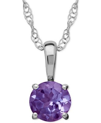 Amethyst Round Pendant Necklace in 14k White Gold (2/5 ct. t.w.)
