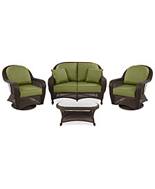 Monterey Outdoor Wicker 4-Pc. Seating Set (1 Loveseat, 2 Swivel Chairs & 1 Coffee Table) with Custom Sunbrella®,  Created for Macy's
