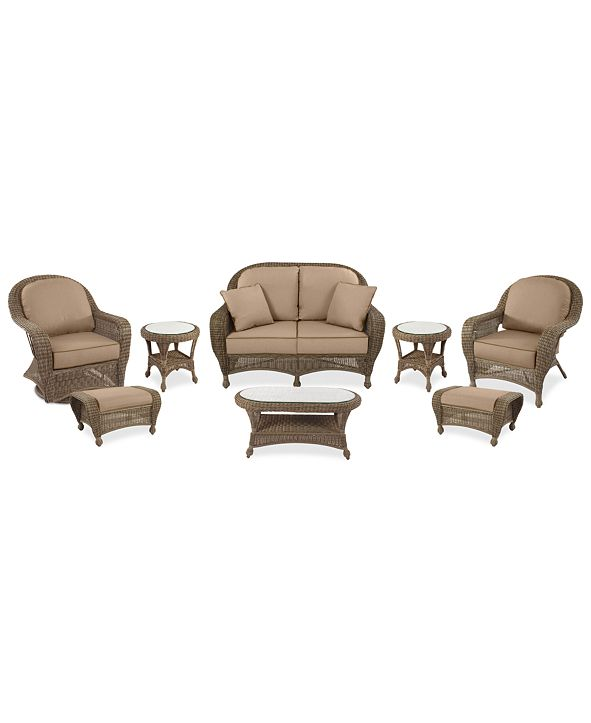 Furniture Sandy Cove Outdoor Wicker 8-Pc. Seating Set (1 Loveseat, 1 Club Chair, 1 Swivel Glider, 2 Ottomans, 1 Coffee Table and 2 End Tables) Custom Sunbrella®, Created for Macy's