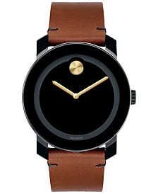 Movado Unisex Swiss Bold Rustic Brown Leather Strap Watch 42mm 3600305