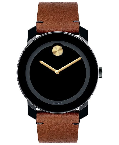 664702730 ... Movado Unisex Swiss Bold Rustic Brown Leather Strap Watch 42mm 3600305  ...