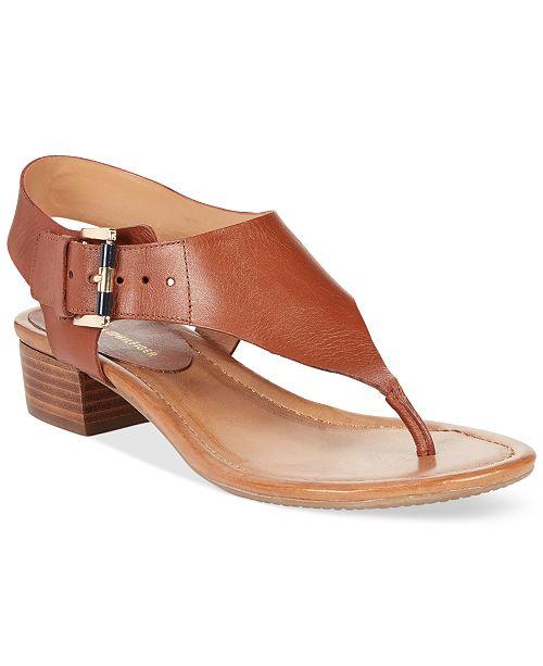 Tommy Hilfiger Kissi Block-Heel Sandals Women's Shoes wgMNeE