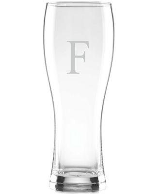Tuscany Monogram Barware Wheat Beer Glasses, Set of 4, Block Letters