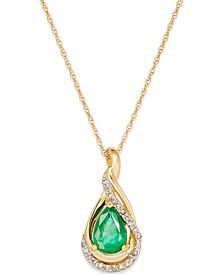"Emerald (5/8 ct. t.w.) and Diamond Accent Pendant 18"" Necklace in 14k White Gold(Also Available in Sapphire)"