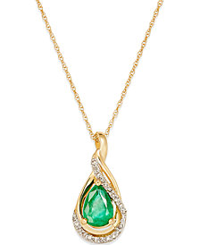 Emerald (5/8 ct. t.w.) and Diamond Accent Pendant Necklace in 14k Gold