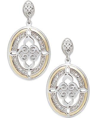 Diamond Drop Earrings in 14k Gold and Sterling Silver (1/8 ct. t.w.)