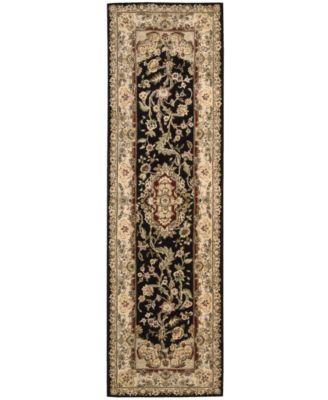 """Area Rug, Wool & Silk 2000 2028 Black 2' 3"""" x 8' Runner Rug"""