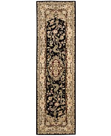 "Wool and Silk 2000 2028 Black 2'3"" x 8' Runner Rug"