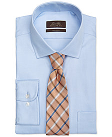 Tasso Elba Non-Iron Blue Twill Houndstooth Dress Shirt & Orange Lucca Grid Tie