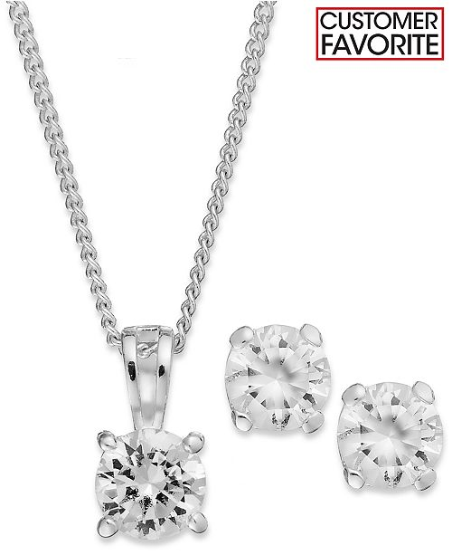 Charter Club Silver-Tone Clear Round Pendant Necklace and Stud Earrings Jewelry Set