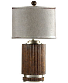 StyleCraft Ribbed Wood Finish Table Lamp