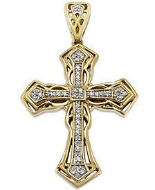 Men's Diamond Cross Pendant in 10k Gold (1/6 ct. t.w.)
