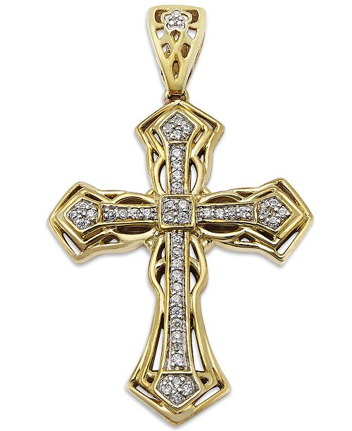 Macys mens diamond cross pendant in 10k gold 16 ct tw main image aloadofball Image collections