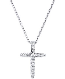 Diamond Cross Pendant Necklace in 14k White Gold (1/6 ct. t.w.)